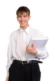 Student. Smiling student stand with the books Royalty Free Stock Photos