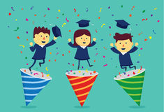 Student in academic dress exploding out of party popper. This illustration about celebrate graduate Stock Photography