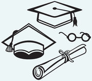 Student accessories. Graduation cap, points and di Royalty Free Stock Photography