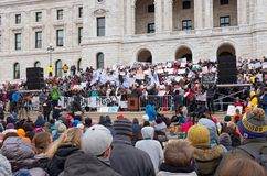 Student Addresses Crowd from Podium. Saint Paul, Minnesota, USA – MARCH 24, 2018: Student addresses crowd from podium at State Capitol during March for Our Stock Photos