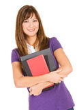 Student: Adult Student with Stack of Books Royalty Free Stock Photography