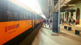 Student Agency Regio Jet train in the Prague station Royalty Free Stock Photography