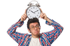 Student with alarm clock isolated on white Stock Images