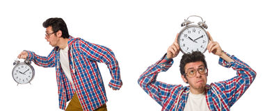 The student with alarm clock isolated on white Royalty Free Stock Photos