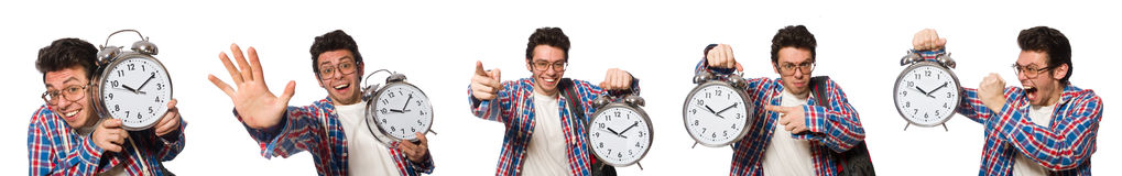 The student with alarm clock isolated on white Royalty Free Stock Images