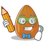 Student almond nut character cartoon Royalty Free Stock Image