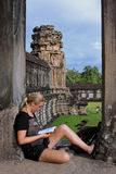 Student in Angkor Wat Stock Images