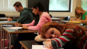 Student asleep at her desk in class stock footage