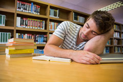 Student asleep in the library Stock Image