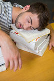 Student asleep in the library Stock Photography