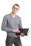 Student athletic read a thick book. Stock Photo