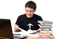 Student auf Lesung stockbild
