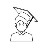 Student avatar with graduation hat isolated icon Royalty Free Stock Images