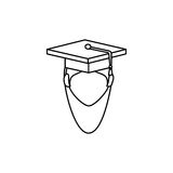 Student avatar with graduation hat isolated icon Stock Images