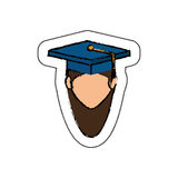 Student avatar with graduation hat isolated icon Stock Photos