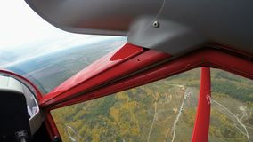 Student of aviation school looking at the ground while flying jet plane, pov. Stock footage stock video footage