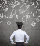 Student in bachelor hat Royalty Free Stock Images
