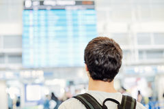 Student with backpack in airport Stock Photography