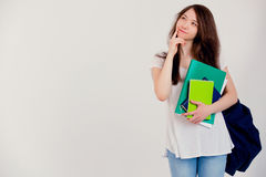 Student with backpack. Student with backpack and books on white background Royalty Free Stock Photography