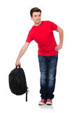 Student with backpack isolated. On white Stock Image