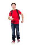 Student with backpack isolated. On white Stock Photography
