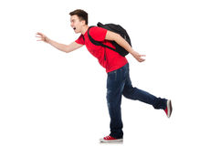 Student with backpack isolated. On white Stock Images