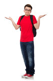 Student with backpack isolated. On white Royalty Free Stock Photo