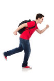 Student with backpack isolated. On white Stock Photo