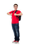 Student with backpack. Isolated on white Royalty Free Stock Photo