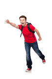 Student with backpack. Isolated on white Stock Photography
