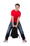 Student with backpack. Isolated on white Royalty Free Stock Photos