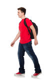 Student with backpack isolated. On white Stock Photos