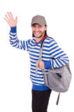 Student with backpack isolated Stock Photos