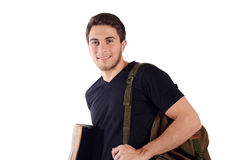 Student with backpack and notebook. stock photography