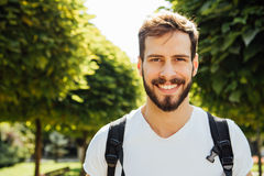 Student with backpack outside Royalty Free Stock Photo