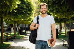 Student with backpack outside royalty free stock photography