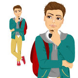Student with backpack thinking about something Royalty Free Stock Photography