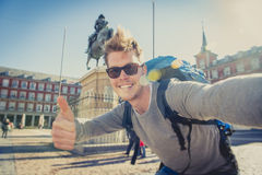 Student Backpacker Tourist Taking Selfie Photo With Mobile Phone Outdoors Stock Photos