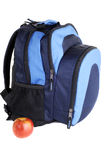 Student Bag. Student Back Pack With Apple, Isolated Over White Stock Image