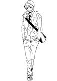 Student with bag. Illustration,ink,black and white,logo,outline,isolated on a white Royalty Free Stock Images
