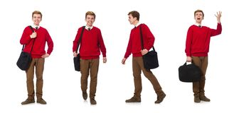 The student with bag isolated on white. Student with bag isolated on white Royalty Free Stock Photo