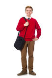 Student with bag isolated on white Stock Images
