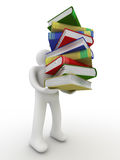 Student with a bale of books. Royalty Free Stock Photos
