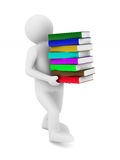 Student with bale books. Isolated 3D Stock Image