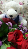 Student bear and bouquet Royalty Free Stock Photo