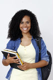 Student. Beautiful brunette woman student smile with books Stock Photo