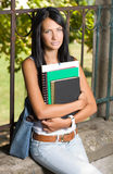 Student beauty outdoors in the park. Stock Photography