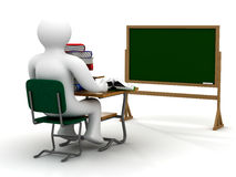 Student behind a school desk. Royalty Free Stock Photo