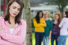 Student being bullied by a group of students Stock Image