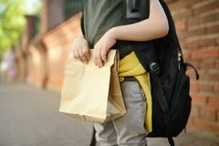 Student with big backpack and lunch bag near the school building. Hands and lunch bag close-up. Student with big backpack and lanch bag near the school building stock photography